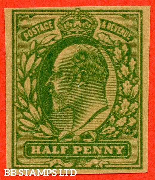 SG. 215. ½d blue green on yellowish paper. PLATE PROOF. A fine 4 margin example.