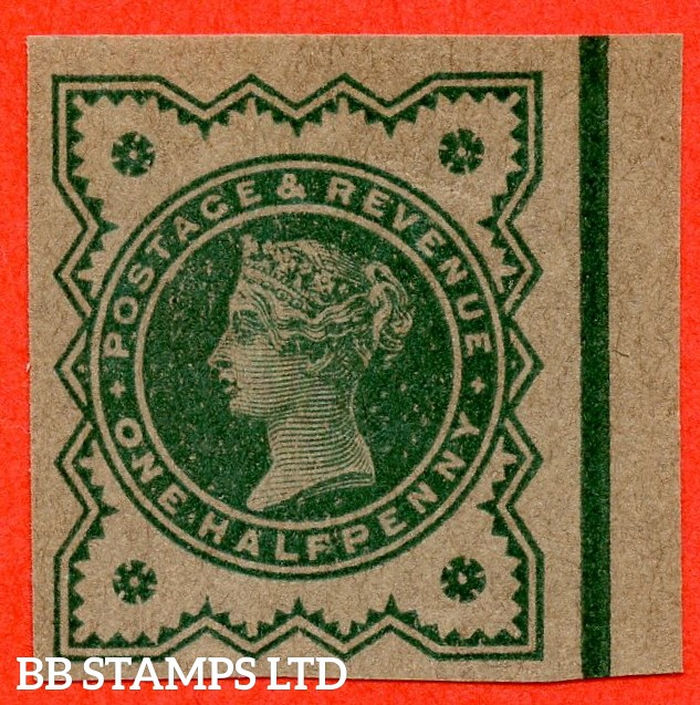"SG. 213 variety ½d Blue - Green on buff paper. "" PLATE PROOF - IMPERF "". A very fine right hand marginal example."