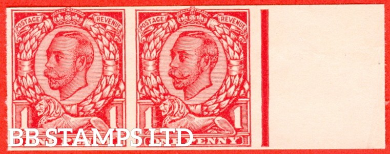 "1912 1d Carmine ( Die II ). A very fine right hand marginal horizontal pair of the "" John Dickinson Extra Superfine Very White Paper Trial "".  Variety "" A ""."