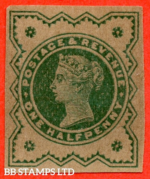 SG. 213. K28. ½d green on buff. PLATE PROOF. A fine large margin example.