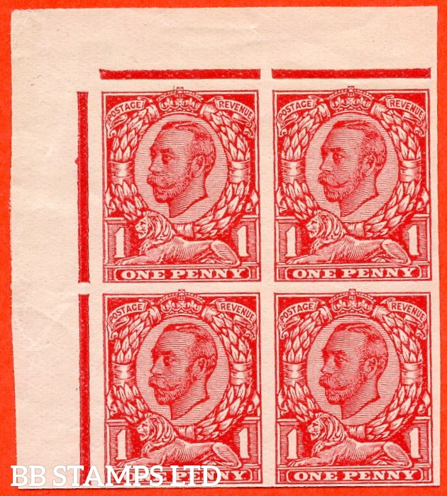 "1912 1d Carmine ( Die II ). A very fine top left hand corner marginal block of 4 of the "" John Allen Special Finish ' PLATE GLAZED BOTH SIDES ' Paper Trial "".  Variety "" D ""."