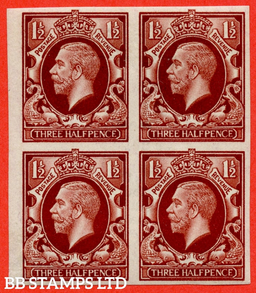SG. 441 variety.1934 Photogravure 1½d Red - Brown Colour Trial. A very fine UNMOUNTED MINT block of 4.