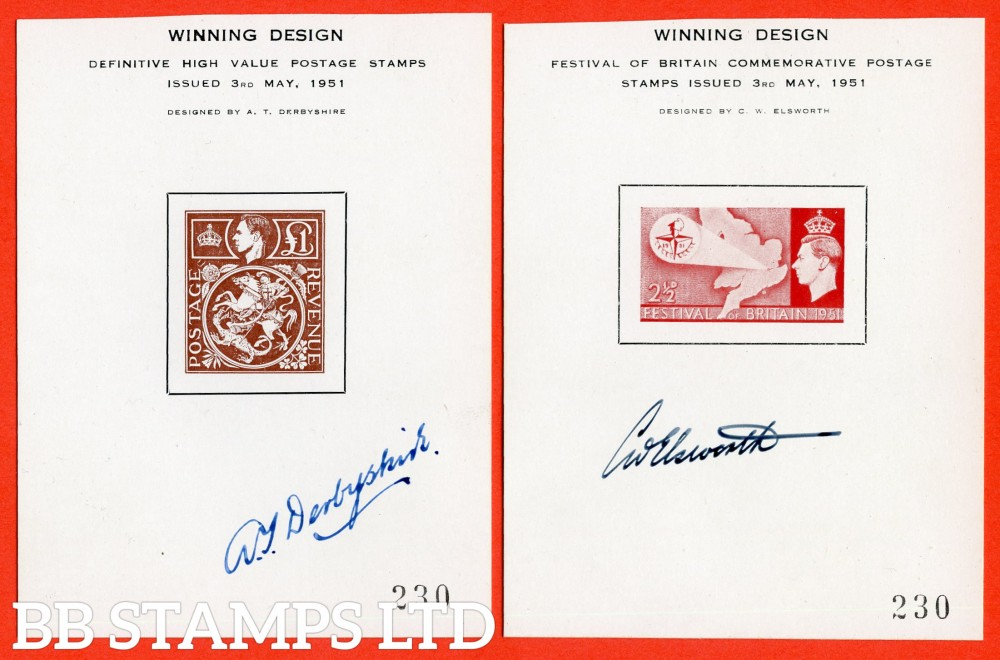"2 George VI "" WINNING DESIGN "" Proofs both signed by the designer. 2½d Festival of Britain signed by CW Elsworth and £1.00 Brown signed by AT Derbyshire."