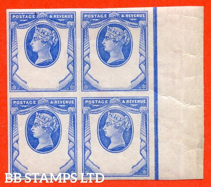 SG. 198. K29. 1½d blue. REPLY PAID ESSAY. A super UNMOUNTED MINT right hand marginal block of 4 of this 1894 reply paid stamp experiment.
