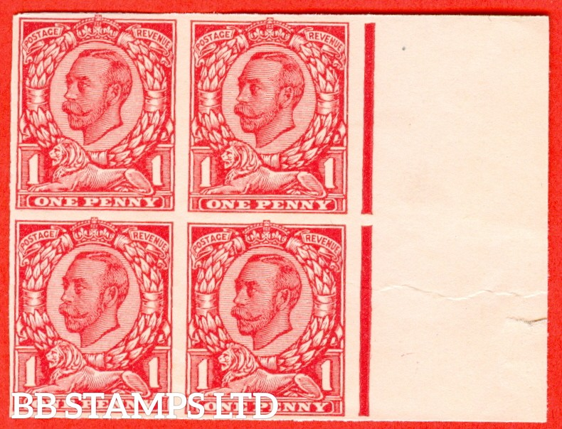 "1912 1d carmine ( Die II ). A very fine right hand marginal block of 4 of the "" John Dickinson Extra Superfine Very White Paper Trial "".  Variety "" A ""."