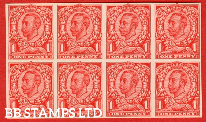 "1912 1d Scarlet ( Die II ). A very fine block of eight of the "" John Allen Paper Trial "".  Variety "" F "" on page 168 of SG specialised catalogue. """