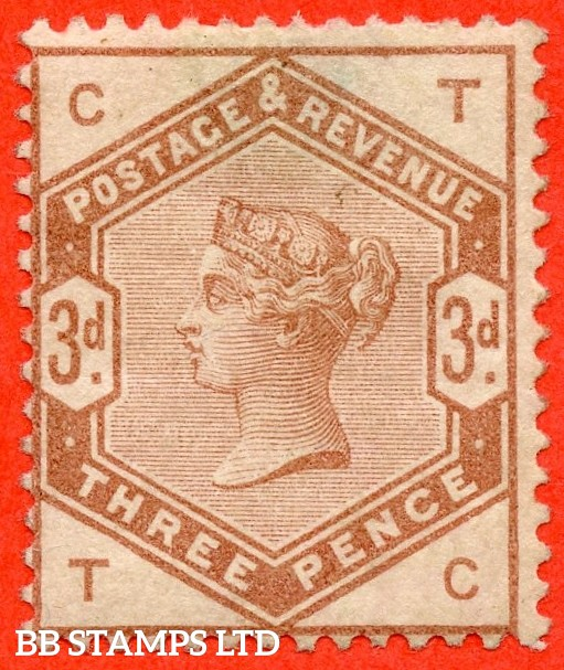 "SG. 191. "" TC "". Variety 3d brown on white watermarked paper. COLOUR TRIAL. Perf 14. A fine mounted mint example of this RARE trial."