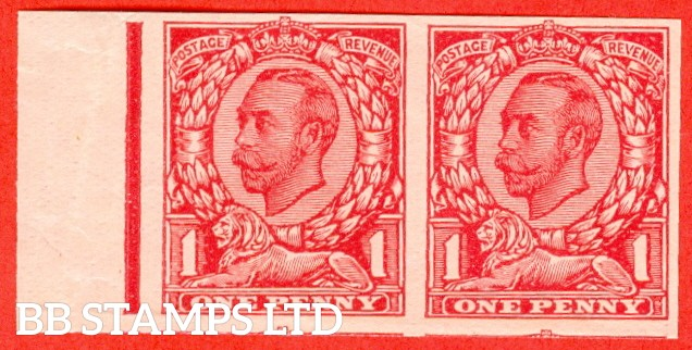 "1912 1d Carmine ( Die II ). A very fine left hand marginal horizontal pair of the "" John Allen Special Finish ' PLATE GLAZED BOTH SIDES ' Paper Trial "".  Variety "" D ""."