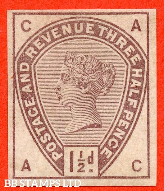 "SG. 188. "" AC "". Variety 1½d purple on white paper with watermark. COLOUR TRIAL. A very fine mounted mint example."