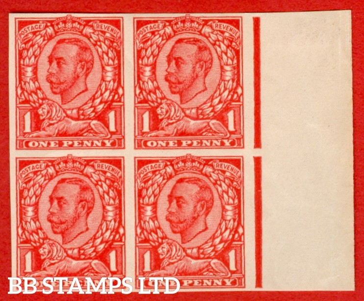 "1912 1d Scarlet ( Die II ). A very fine right hand marginal block of four of the "" John Allen Paper Trial "".  Variety "" F "" on page 168 of SG specialised catalogue. """