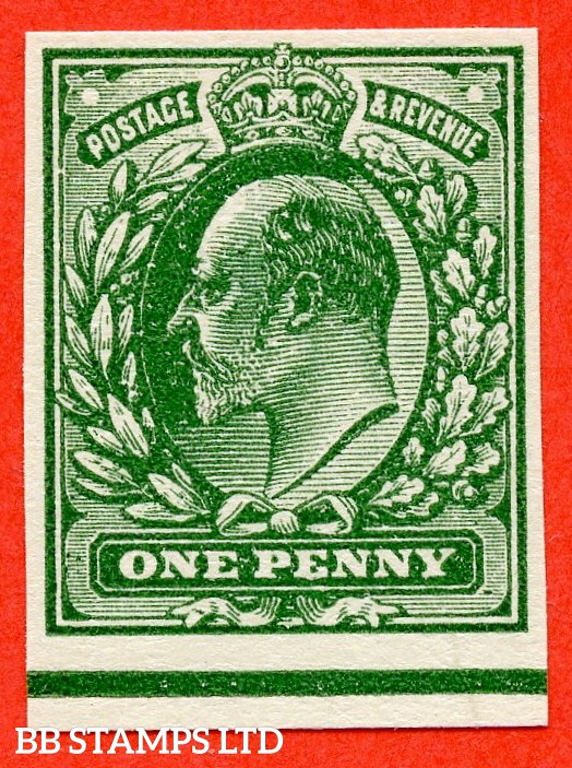 SG. 219 variety 1d pale green on thin white card. PLATE PROOF. A fine 4 margin example.