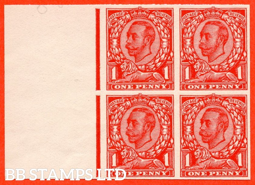 "1912 1d Scarlet ( Die II ). A very fine left hand marginal block of 4 of the "" John Allen Special Finish ' MACHINE FINISHED UNDERSIDE ' Paper Trial "".  Variety "" F ""."