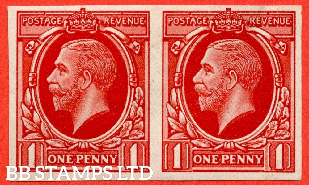 "SG. 440 variety. 1934 Photogravure "" Essay "". 1d Scarlet "" IMPERF "" on watermarked paper. A very fine UNMOUNTED MINT horizontal pair."