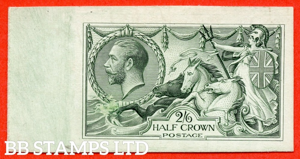 SG. 399. N63 variety. 2/6 PLATE PROOF. A fine left hand marginal example in dull blue-green on thick glazed card.