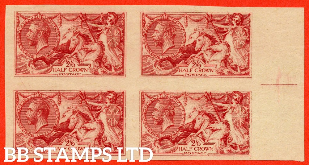 SG. 400. Variety PLATE PROOF IN CARMINE. A fine large margined right hand marginal block of 4 with centre sheet marking. A RARE multiple.