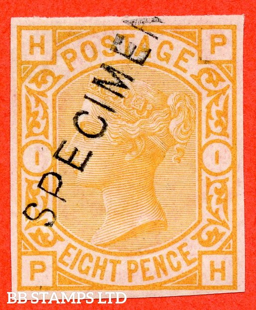 "SG. 156 variety. "" PH "". 8d orange. "" COLOUR TRIAL "". A very fine mounted mint imperforate example overprinted with SPECIMEN type 11."