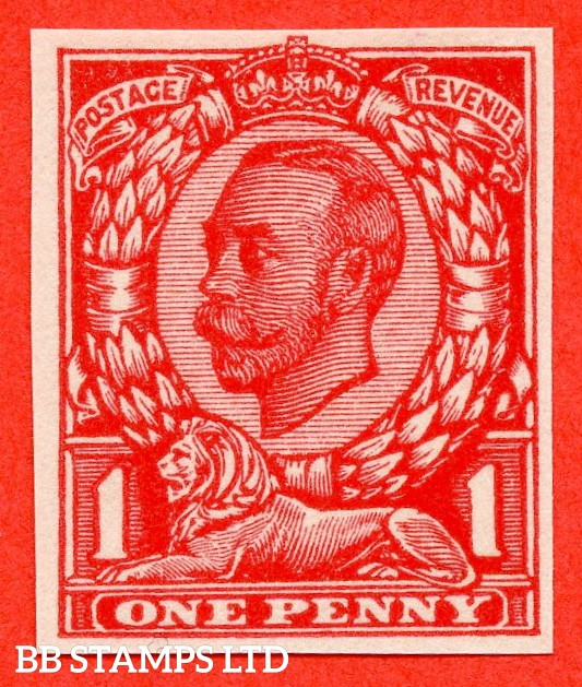 "1912 1d Scarlet ( Die II ). A very fine example of the "" John Allen Paper Trial "".  Variety "" F "" on page 168 of SG specialised catalogue. """