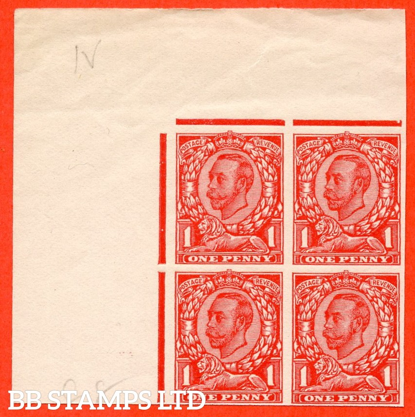 "1912 1d Scarlet ( Die II ). A very fine top left hand corner marginal block of 4 of the "" John Allen Special Finish ' MACHINE FINISHED UNDERSIDE ' Paper Trial "".  Variety "" F ""."