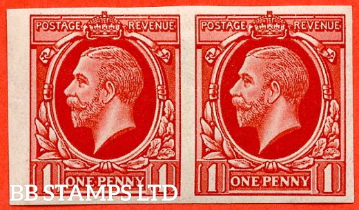 "1934 Photogravure "" Essay "". 1d Scarlet "" IMPERF "" on watermarked paper. A very fine mint horizontal pair."