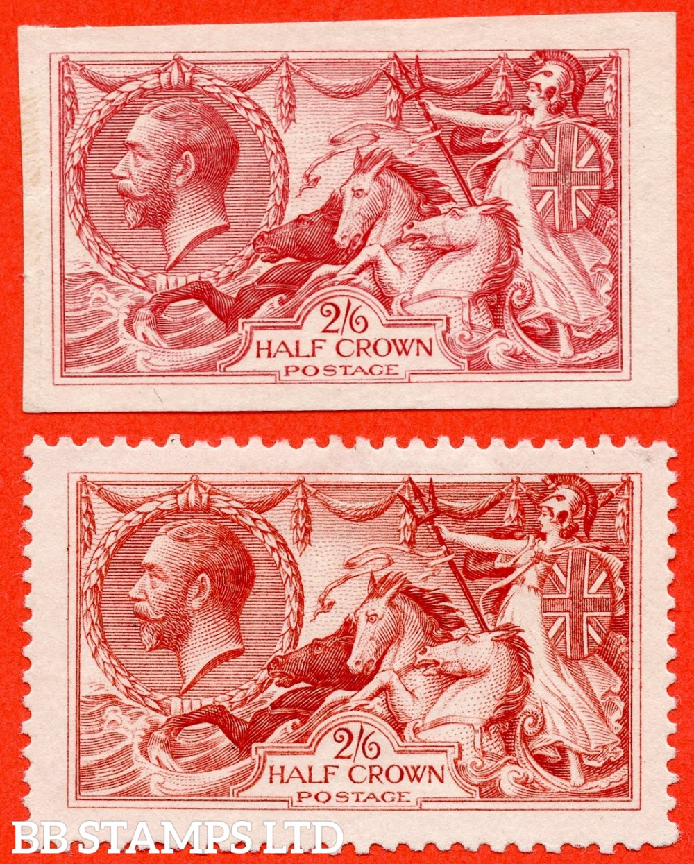 SG. 399. N63 variety. 2/6 CARMINE PLATE PROOF & COLOUR TRIAL. A super matching pair in the colour used for the 5/-. Both without gum and watermark as issued. The imperf complete with RPS certificate.
