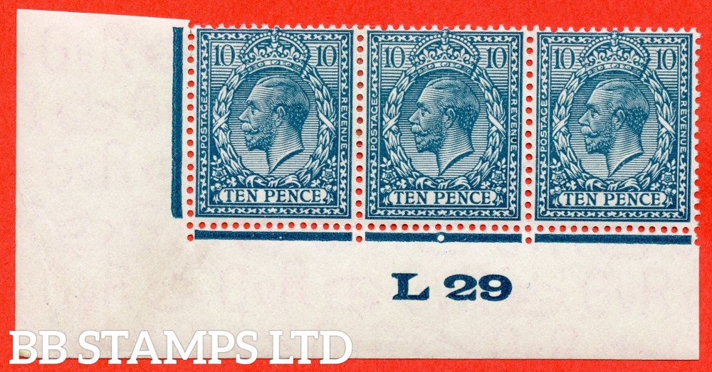 """SG. 428. N44 (1). 10d Turquoise Blue. A mounted mint control """" L29 imperf """" strip of 3. Perf type 2."""