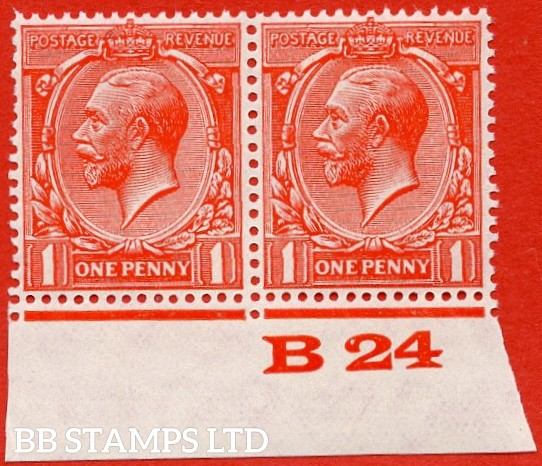 """SG. 419b. N34 (1) a. 1d Scarlet. """" Experimental paper """".  A very fine UNMOUNTED MINT control """" B24 imperf """" pair."""