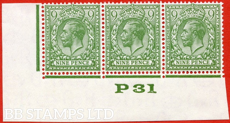 """SG. N43 (3). 9d deep olive green. A very fine UNMOUNTED MINT control """" P31 Imperf -- perf type 2 -- from plate 1 """" strip of 3."""