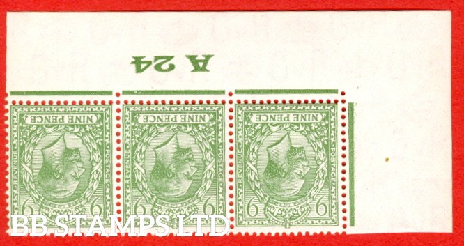 """SG. 427 wi. N43 (1). 9d Olive green. A SUPERB UNMOUNTED MINT control """" A24 Imperf -- perf type 2 ."""" INVERTED WATERMARK strip of 3."""