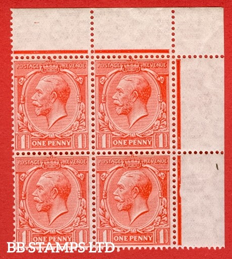 """SG. 419b. N34 (1) a. 1d Scarlet. """" Experimental paper """".  A Super UNMOUNTED MINT top right hand corner marginal block of 4 of this scarce George V watermark variety."""