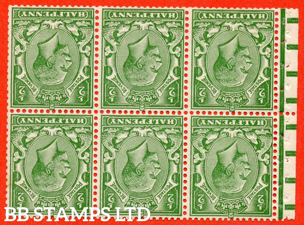 SG. 418 dw. NB12a. N33 (2) a. ½d pale green. INVERTED WATERMARK. A fine UNMOUNTED MINT booklet pane with perf type P.