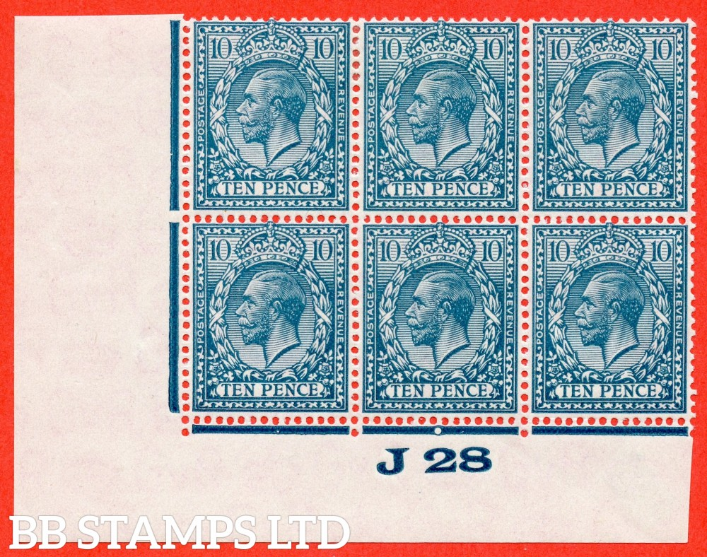 """SG. 428. N44 (1). 10d Turquoise Blue. A fine mounted mint control """" J28 imperf """" block of 6. Perf type 2."""