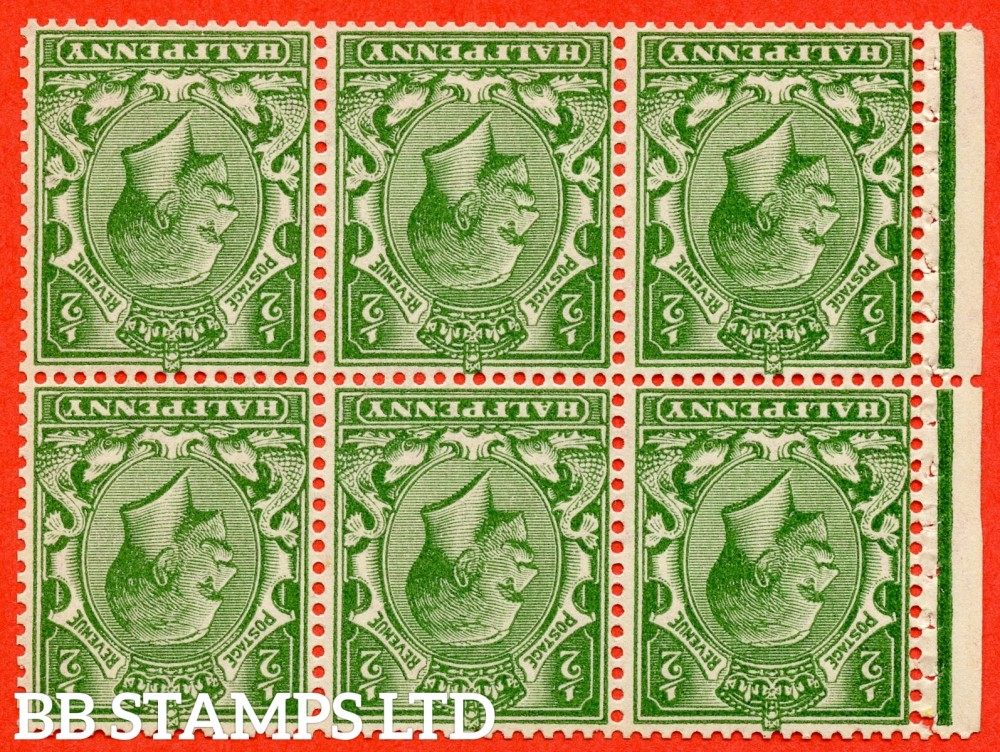 SG. 418 dw. NB12a. N33 (3) a. ½d deep green. INVERTED WATERMARK. A fine UNMOUNTED MINT booklet pane with perf type P.