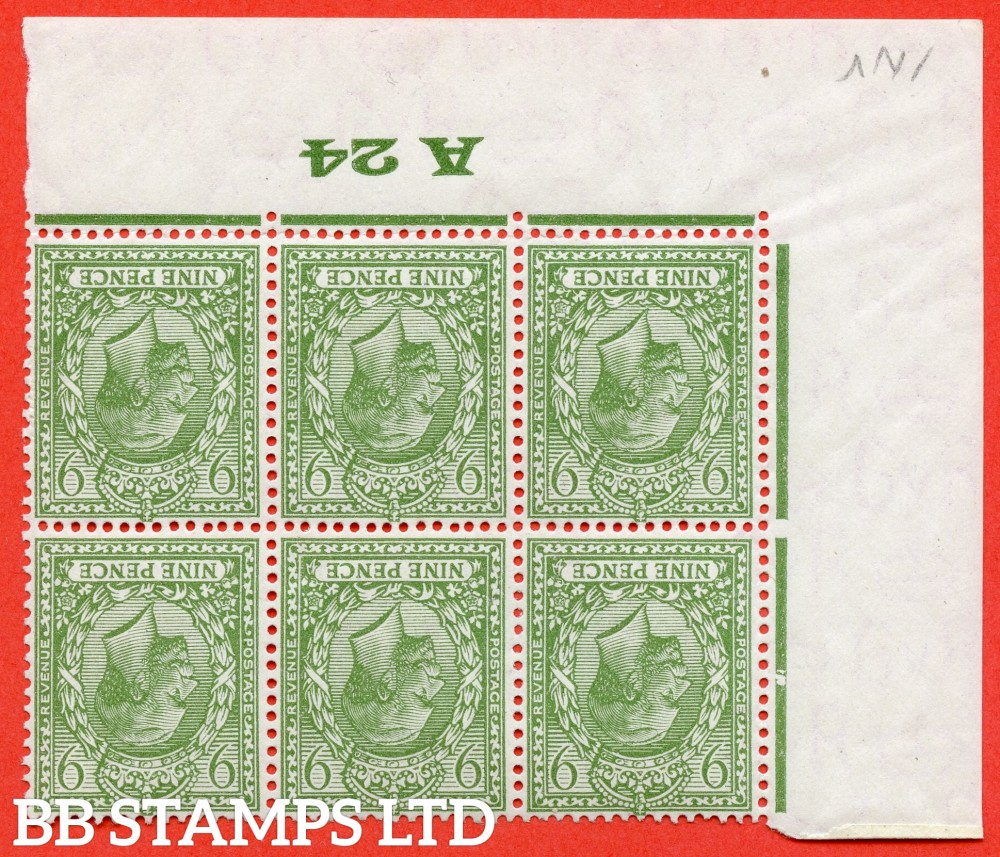 """SG. 427 wi. N43 (1). 9d Olive green. A fine UNMOUNTED MINT control """" A24 Imperf -- perf type 2 ."""" INVERTED WATERMARK block of 6."""