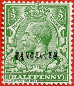 """SG. 418. N 33(1) w. ½d Green. A fine UNMOUNTED MINT example overprinted """" CANCELLED """" type 28."""