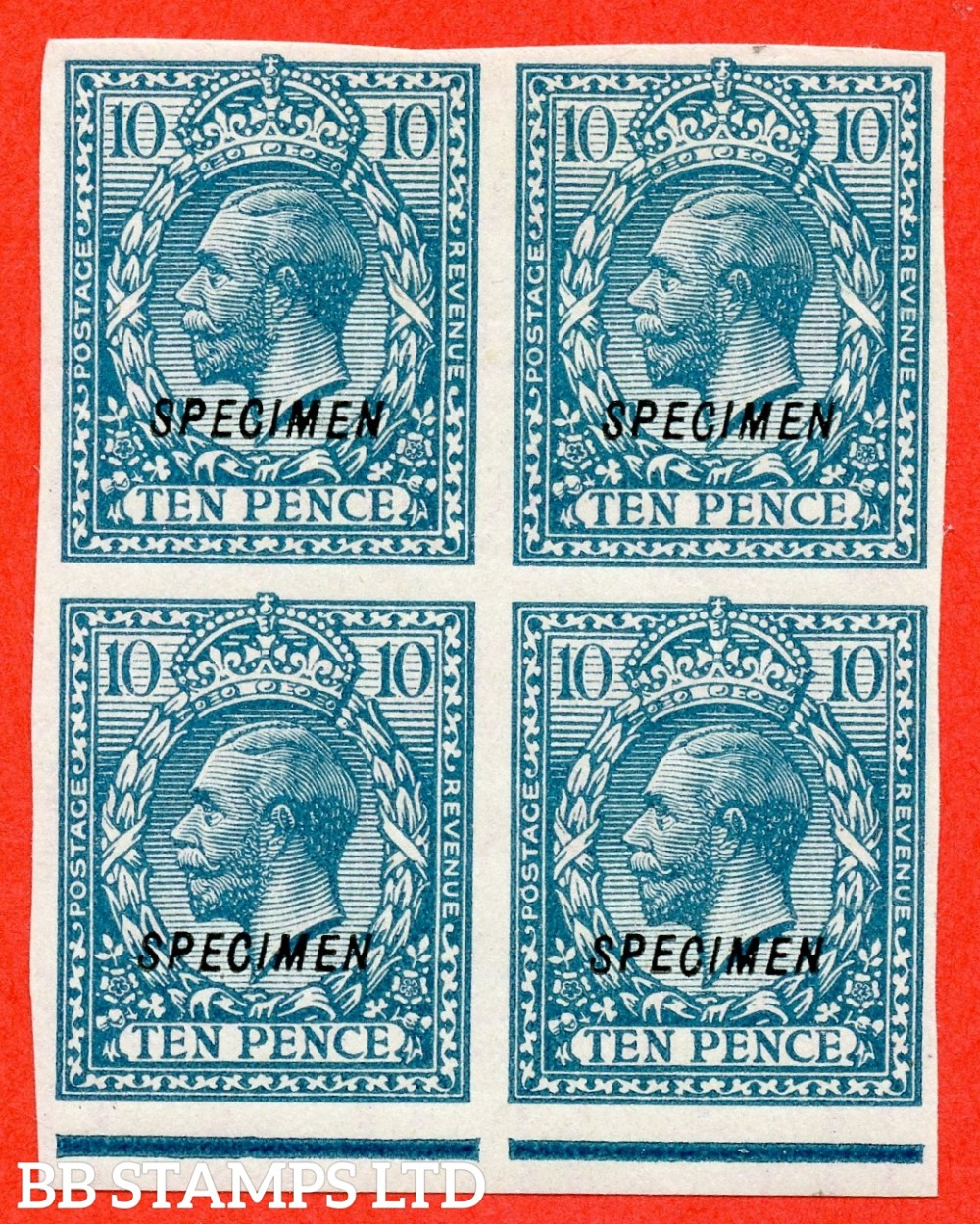 SG. 428 s. N44 (1) t. 10d Turquoise - Blue. A fine lightly mounted bottom marginal block of 4 overprinted SPECIMEN type 23.