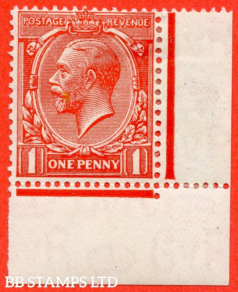 """SG. 419. N34 (1) f. 1d Scarlet. A mounted mint bottom right hand corner marginal example clearly showing the scarce """" Gash in Crown. ( Plate 7. Row 20/12 ) """" variety."""