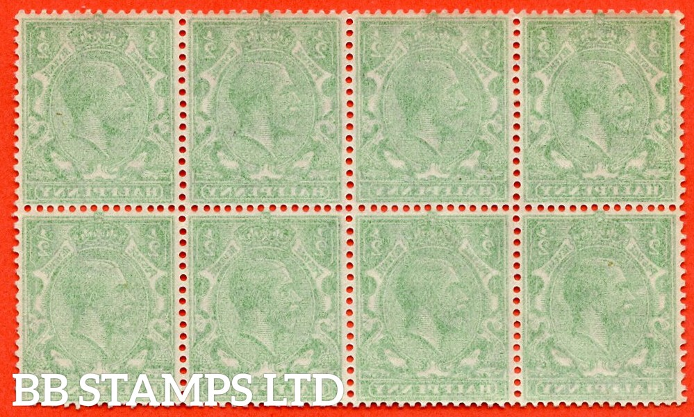 "SG. 418. N33 (1). ½d Green. A super UNMOUNTED MINT block of 8 with a "" COMPLETE OFFSET "" error."