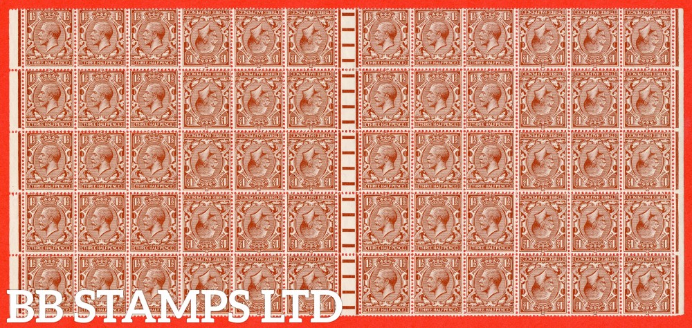 SG. 420 a. N35 (1) a. 1½d red - brown. Tete - beche. A REMARKEABLE block of 60 stamps with 15 tete - beche pairs included. A superb exhibition piece and must be the largest surving piece.