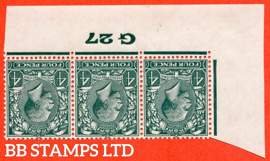"SG. 424 wi. N39 (2) a. 4d Grey Green. INVERTED WATERMARK. A fine UNMOUNTED MINT control "" G27 imperf "" strip of 3 with INVERTED WATERMARK."