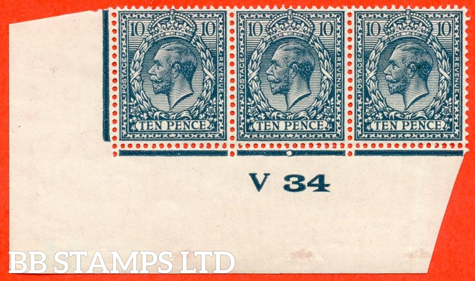 "SG. N44 (3). 10d deep dull greenish blue. A very fine mint control "" V34 imperf "" strip of 3. Perf type 2 and plate 1c."