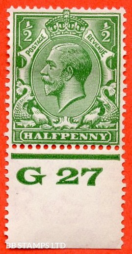 """SG. 418. N33 (1). ½d Green. A fine mounted mint control """" G27 perf """" example."""