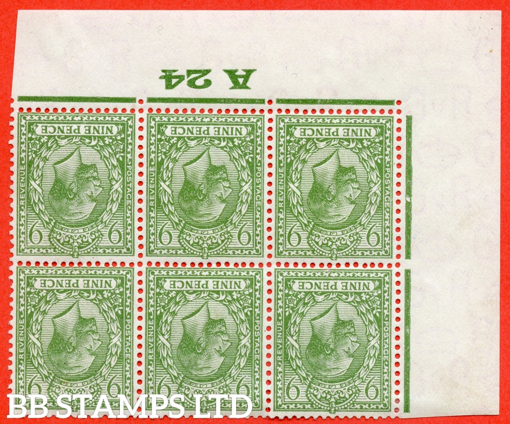 """SG. 427 wi. N43 (1). 9d Olive green. A fine mounted mint ( 3 stamps UNMOUNTED MINT ) control """" A24 Imperf """" perf type 2 .INVERTED WATERMARK block of 6."""