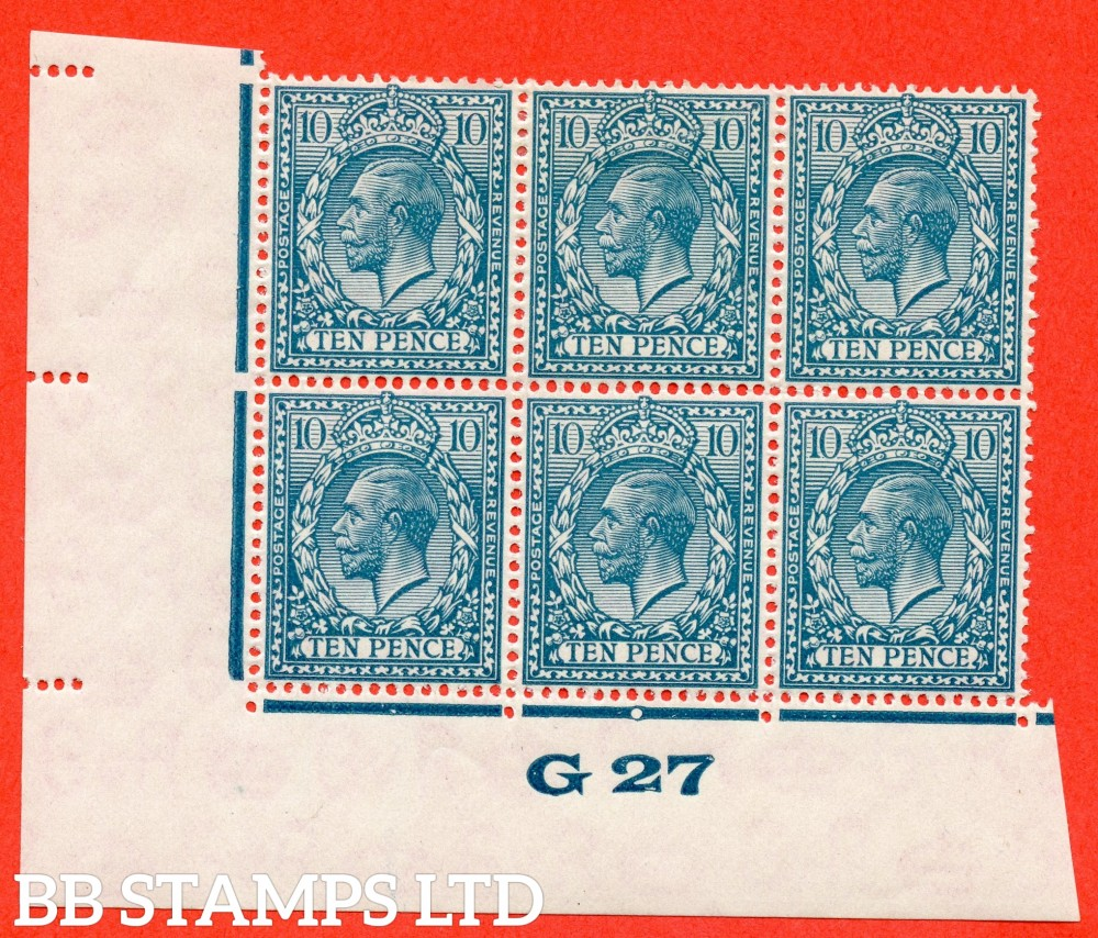 """SG. 428. N44 (1). 10d Turquoise Blue. A fine mounted mint control """" G27 imperf """" block of 6. Perf type 2."""