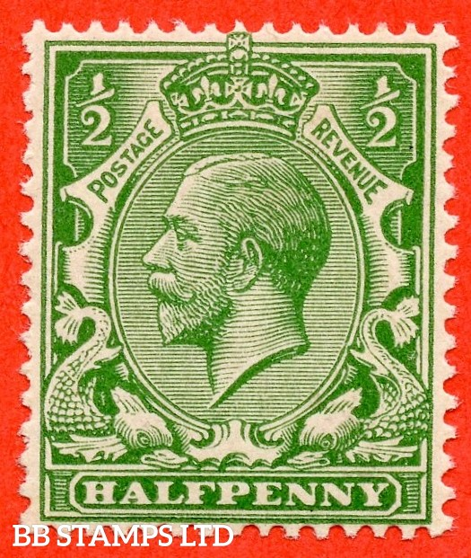 "SG. 418 c. ½d green. "" NO WATERMARK "". A superb UNMOUNTED MINT example of this RARE George V watermark variety. Only 24 examples exist and complete with Brandon certificate."