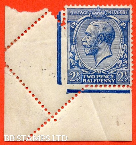 "SG. 422. N37 (1). 2½d blue. A fine mounted mint bottom left hand corner marginal example with a super "" PRE PRINTING PAPER FOLD "" error leaving a partial imperf example."