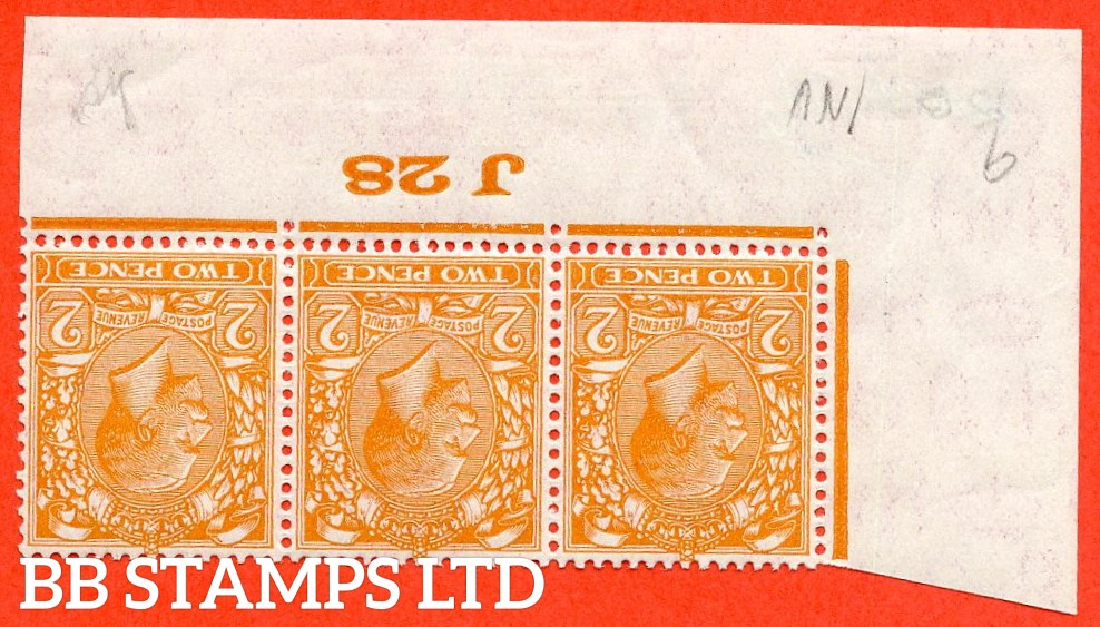 "SG. 421 wi. N36 (1) b. 2d Orange.  INVERTED WATERMARK. A super UNMOUNTED MINT ( mounted in the margin only ) control "" J28 imperf "" strip of 3."