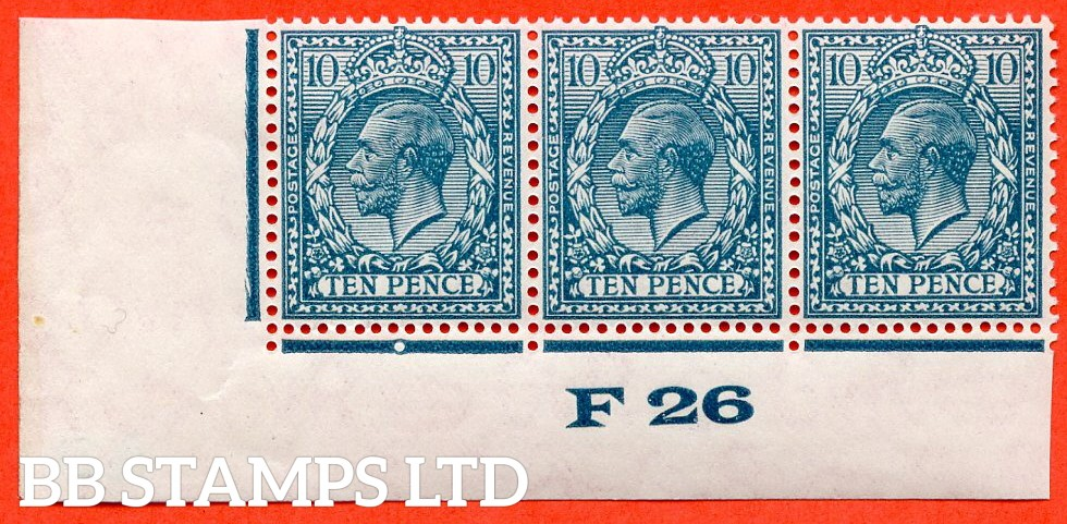 """SG. 428. N44 (1). 10d Turquoise Blue. A very fine mint control """" F26 imperf """" control strip of 3. Perf type 2 and plate 2b."""