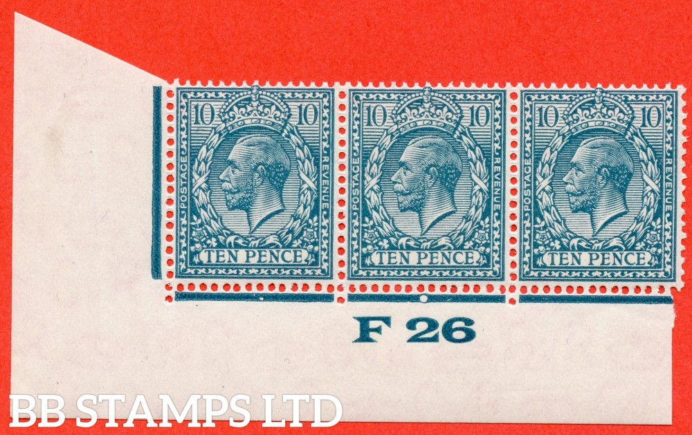 "SG. 428. N44 (1). 10d Turquoise Blue. A very fine UNMOUNTED MINT control "" F26 imperf "" control strip of 3. Perf type 2."