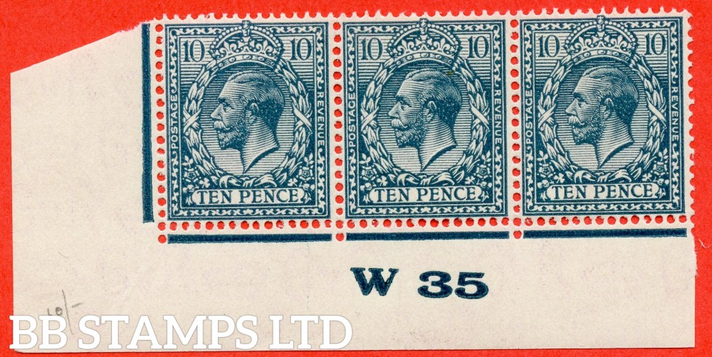 "SG. N44 (4). 10d deep dull greenish blue. A fine very lightly mounted mint control "" W35 imperf "" strip of 3. Perf type 2."