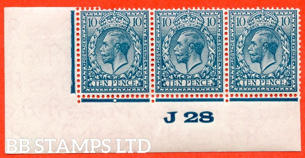 "SG. 428. N44 (1). 10d Turquoise Blue. A very fine mint control "" J28 imperf "" strip of 3. Perf type 2 and plate 2b."